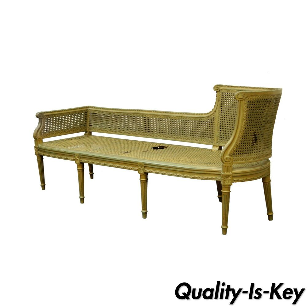 Chaise Style Antique French Louis Xvi Style Caned Chaise Lounge Recamier Fainting Couch Sofa Ebay
