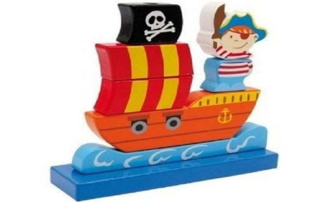 Pirate Ship Traditional Wooden Stackable Toy Ebay