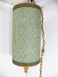 Vintage Chenille Green Gold Braid Hanging Swag Chain Drum