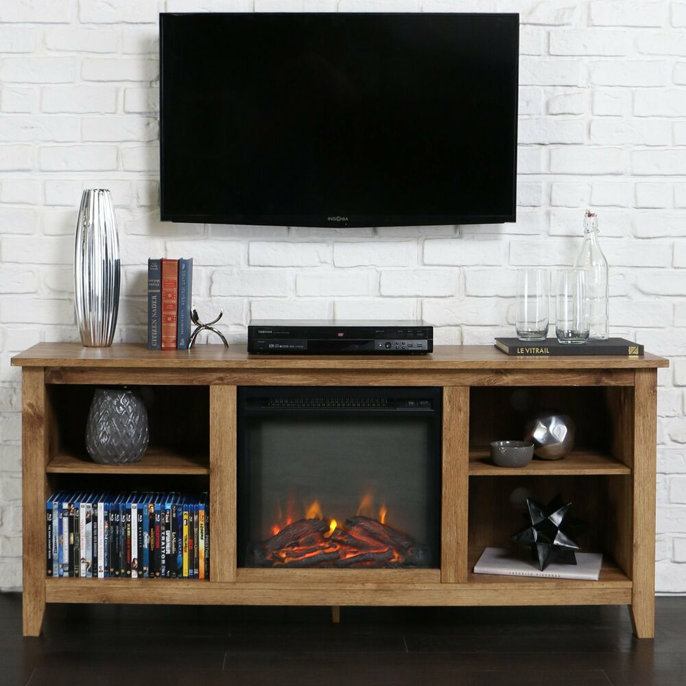 Console Cabinet 60 Inch Tv Stand Fireplace Insert Rustic Heater Electric
