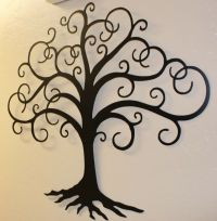 "Black Swirled Tree of Life 24"" tall Metal Wall Art Decor"
