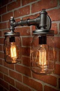 Two Mason Jar Vanity Sconce Light Fixture Industrial