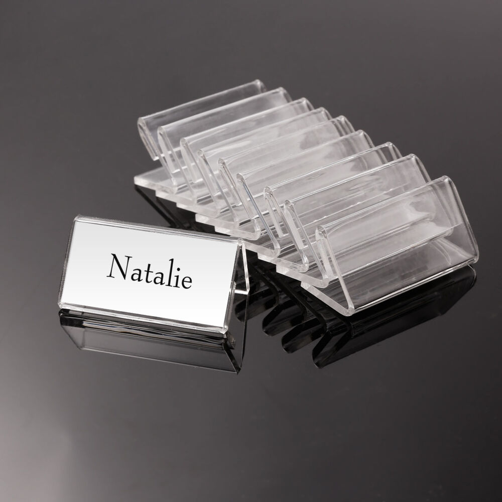 50x Acrylic Clear Desktop Price Name Sign Label Display