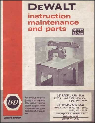 Dewalt 16  18 Inch Type A Radial Arm Saw Manual eBay