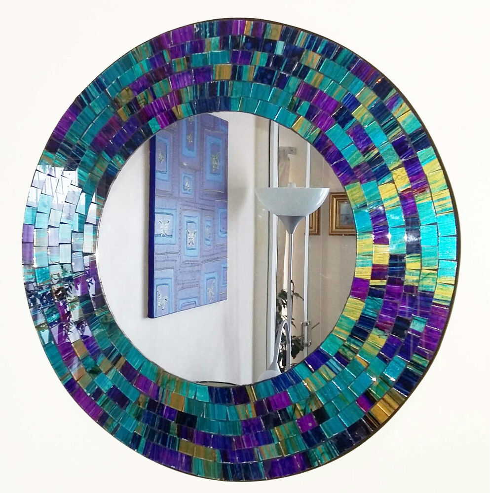 Spiegel Mosaik Round Purple Teal Mosaic Wall Mirror 40cm-hand Made In