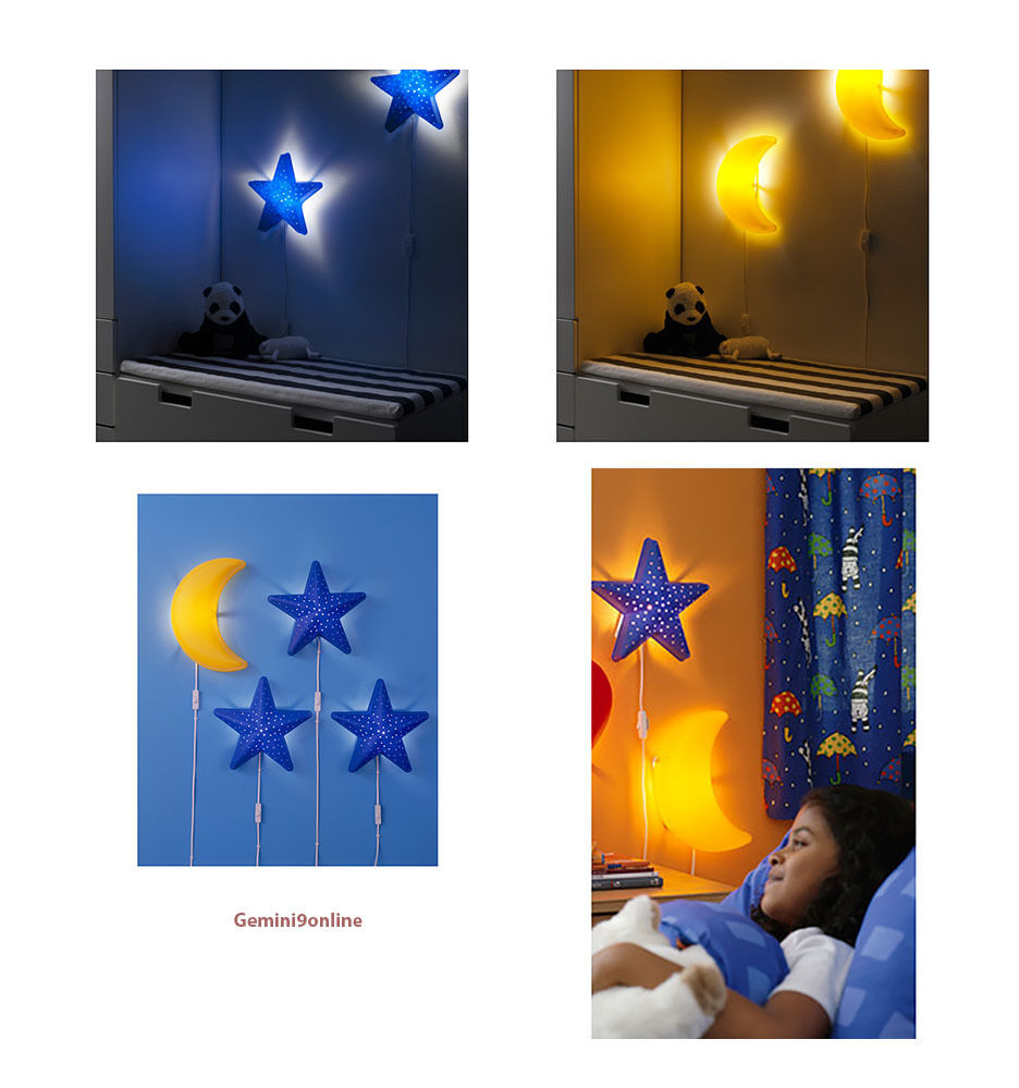IKEA Kids Wall Lamps SMILA Nightlight Blue Star or Yellow