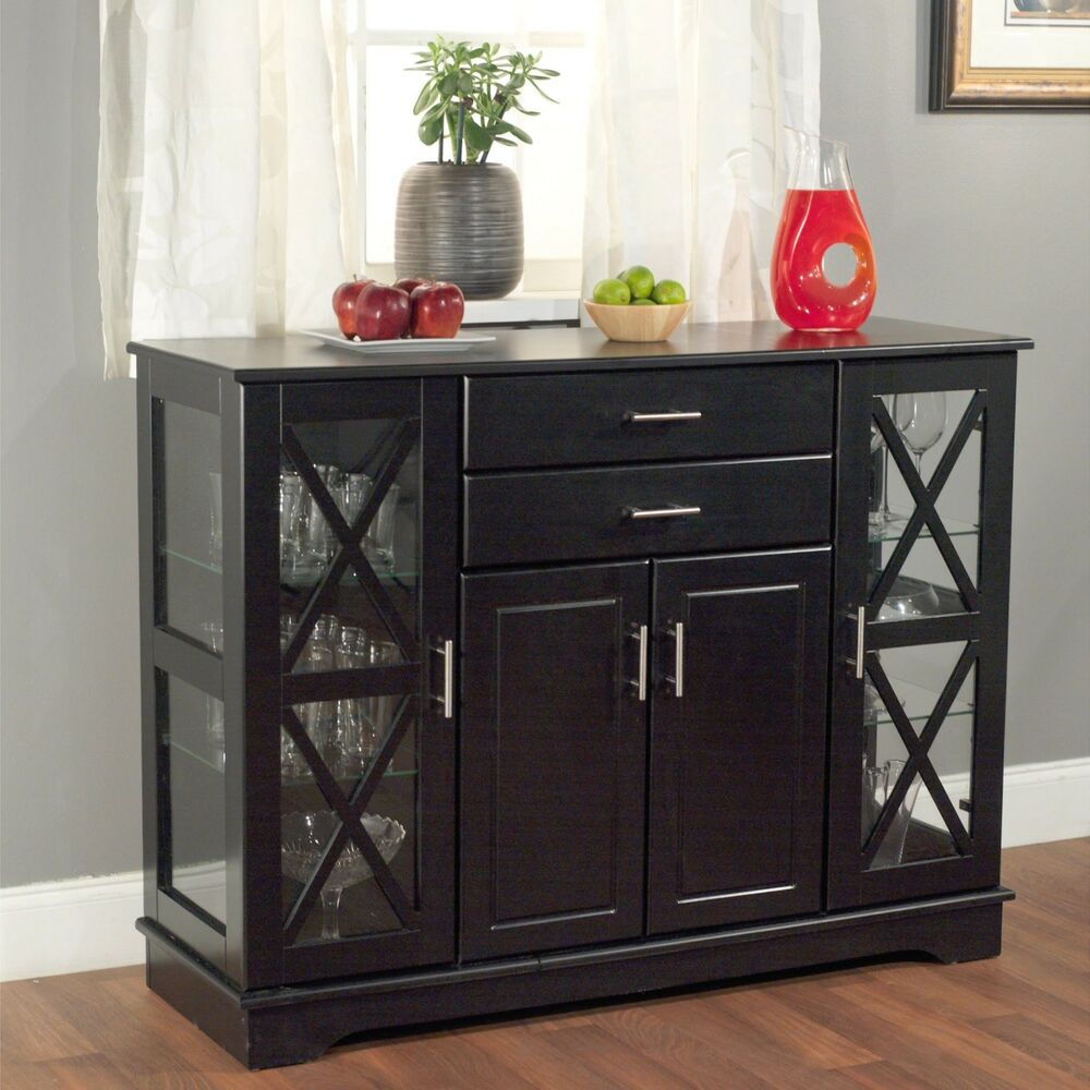 Buffet Kitchen Cabinet Black Buffet Kitchen Sideboard Wood Table Glass Door Dining Cabinet Storage New Ebay