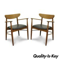 Pair of Stanley Mid Century Modern Oak Walnut Curved Back ...