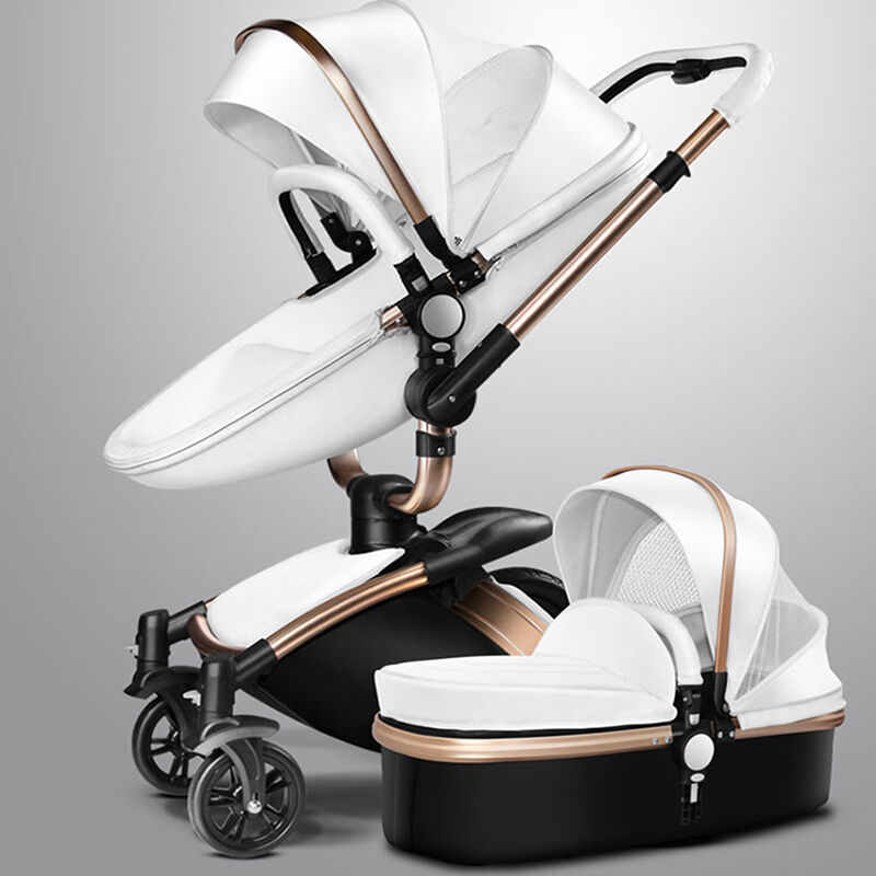 Baby Pushchair Leather Baby Stroller 2 In 1 Leather Carriage Infant Travel Car