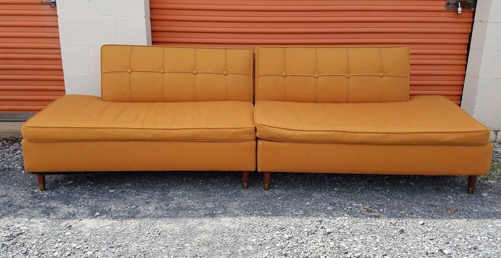 Retro Orange Vinyl Sofa Vtg Mid Century Danish Modern Retro Couch Sofa Love Seat