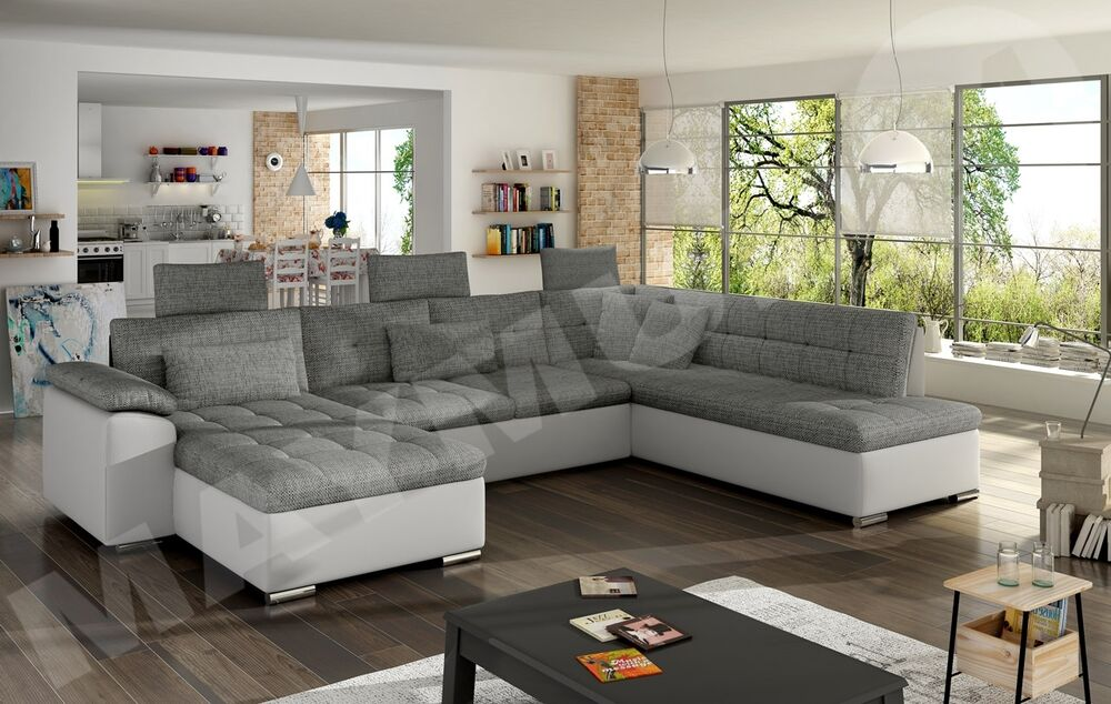 U Couch Presto Fabric & Leather L-shape, U-shape, Corner Sofa ...
