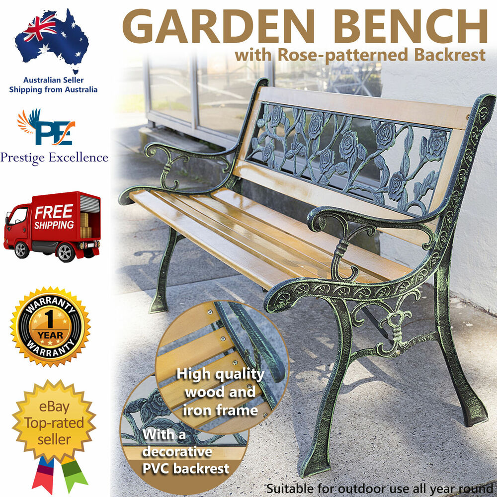 Garden Bench Australia Wooden Garden Bench Outdoor Furniture Park Patio Seat Lounge Chair Timber Metal Ebay