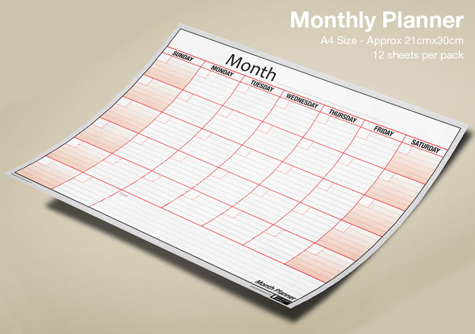 A4 MONTH PLANNER Wall / Desk Monthly Planner Pack, Use Any Month