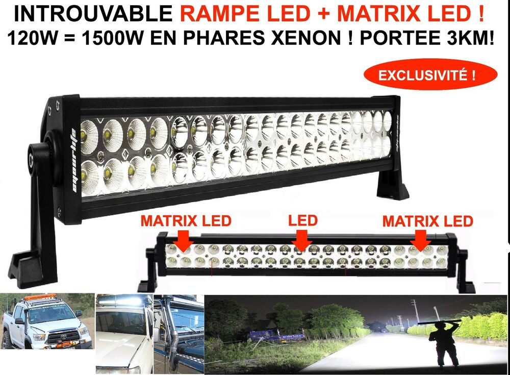 Eclairage Led 12v Camping Car Portee 3km! Rampe Barre Phare Led + Matrix Led 120w Land