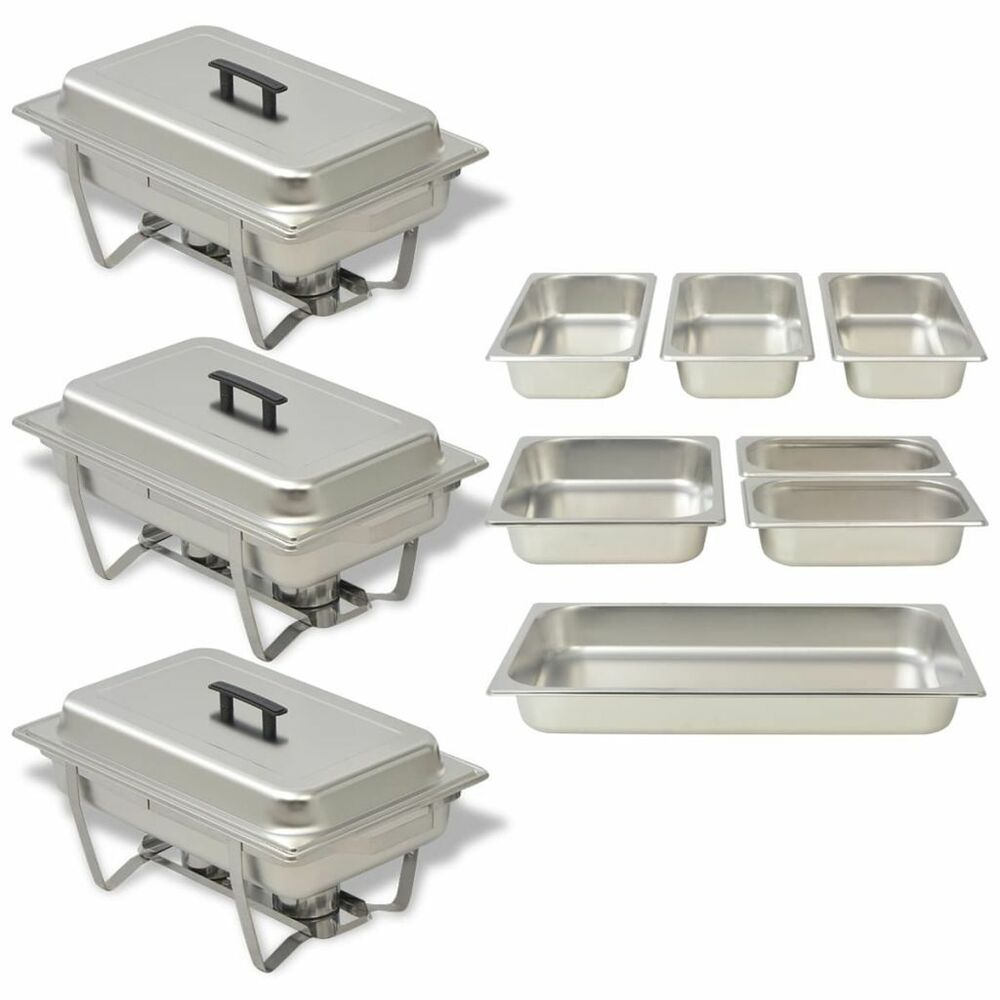 Set Da Cucina Exclusive 3 Chafing Dish Set Stainless Steel Kitchen Catering Party Hot Food Warmer Pans Ebay