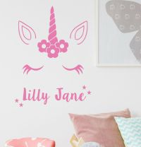 Unicorn Wall Sticker With Personalised Name Kids Bedroom ...