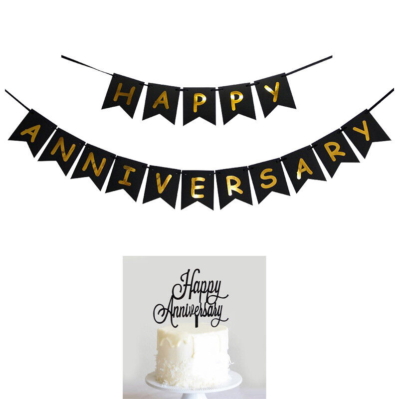happy anniversary banner bunting  cake topper for anniversary party