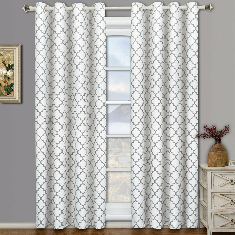108 Inch Curtain Panels Set 2 White Gray Geo Lattice Curtains Panels Drapes 63 84 96 108 Inch Darkening Ebay