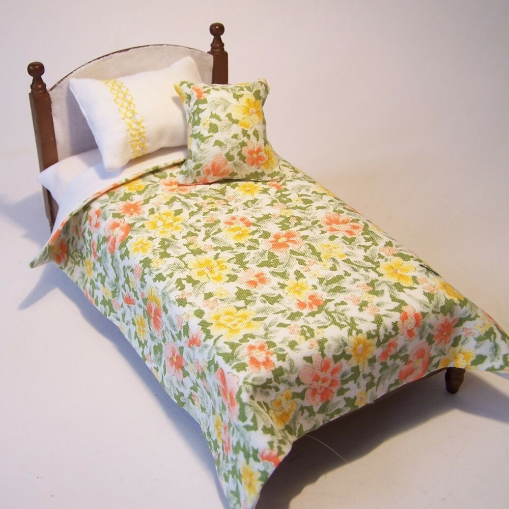 Long Single Bed Dolls House Bedding Set 1 12 Handmade Single Bed Size Ebay