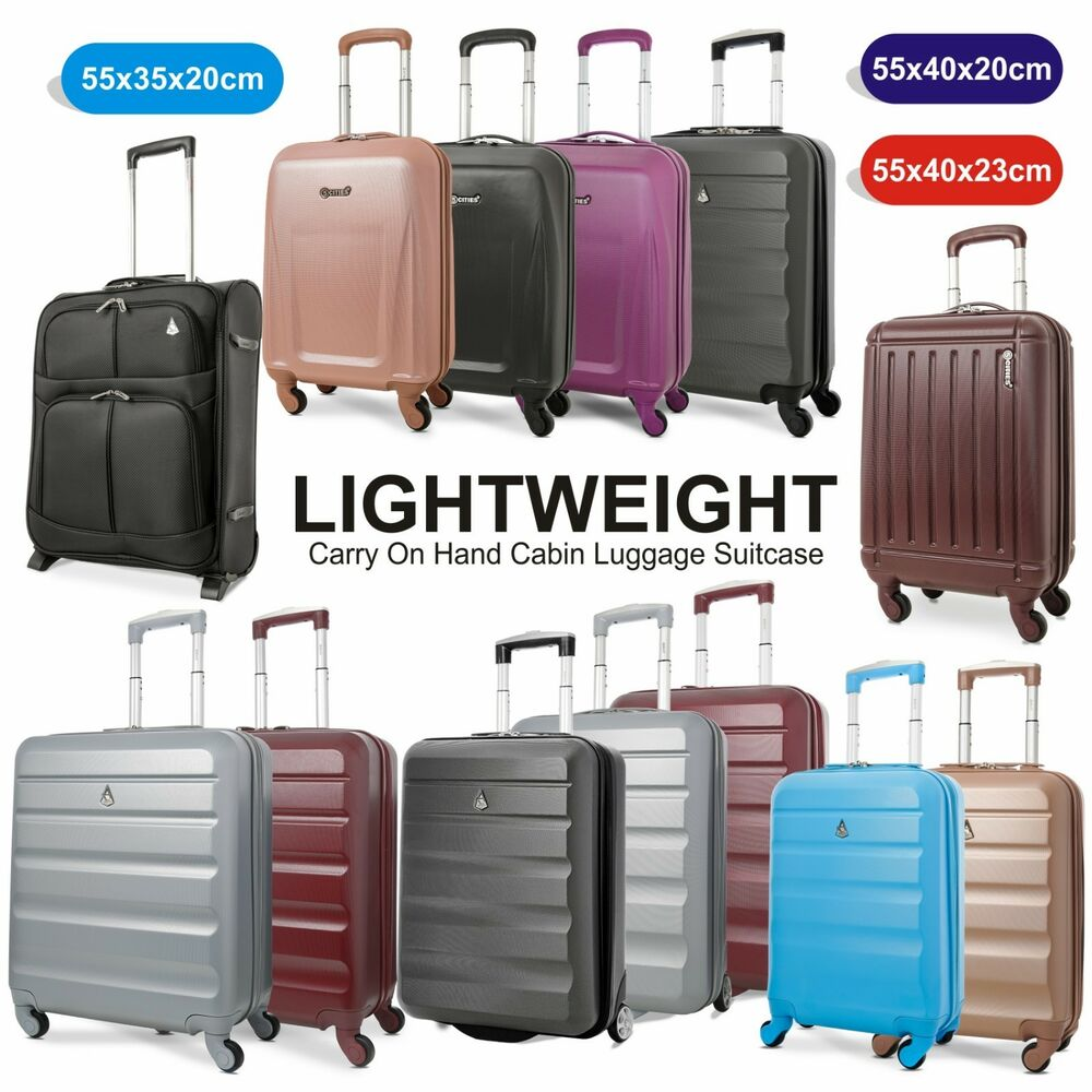 Lightweight Cabin Luggage Lightweight Carry On Hand Cabin Luggage Suitcase 55x35x20 55x40x20 55x40x23 Cm Ebay