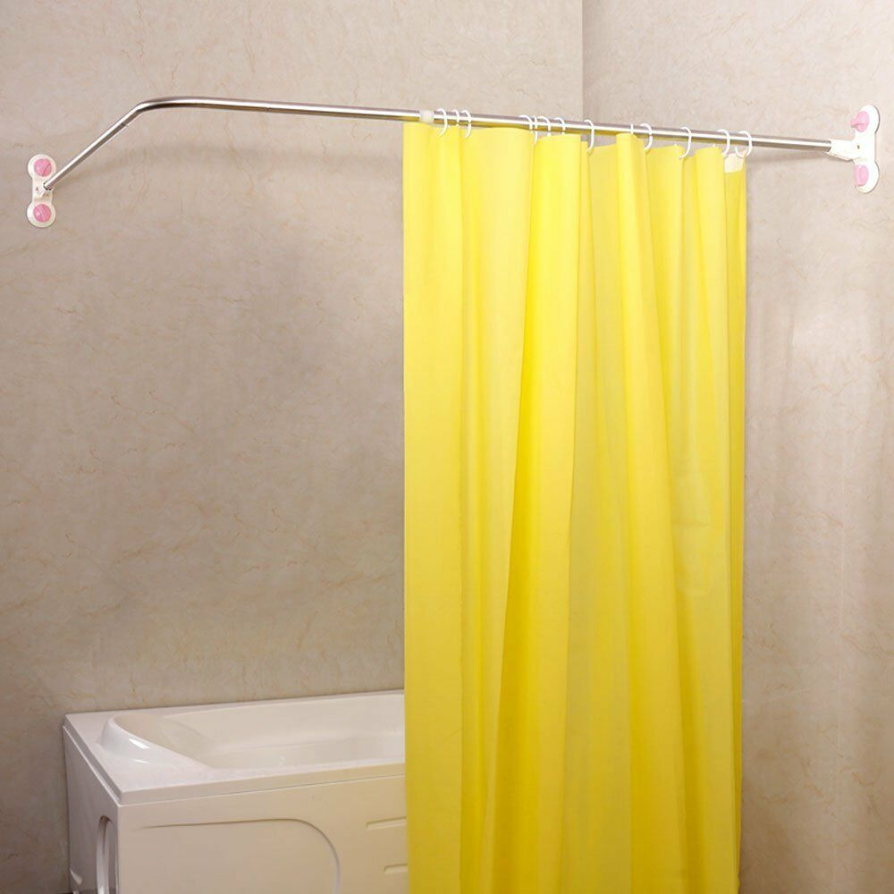 Telescopic L-shaped Shower Curtain Rod Extendable Shower Curtain Rail Suction Cups L Shaped Corner