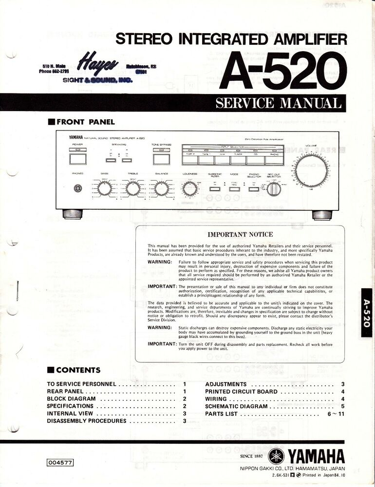 Original Yamaha A-520 Integrated Amp Service Manual w Schematic