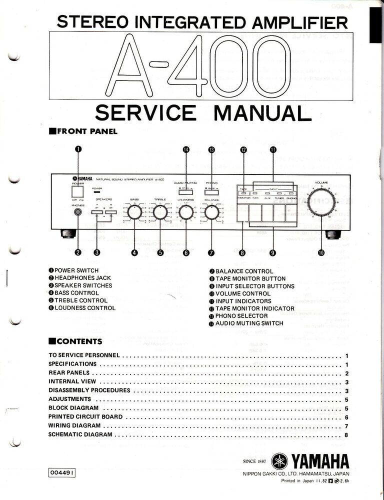 Original Yamaha A-400 Integrated Amp Service Manual w Schematic