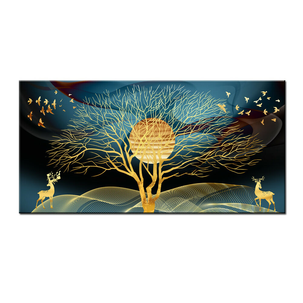 Abstract Art Prints On Canvas Canvas Abstract Art Prints Painting Gold Deer And Tree Picture Home Wall Decor Ebay
