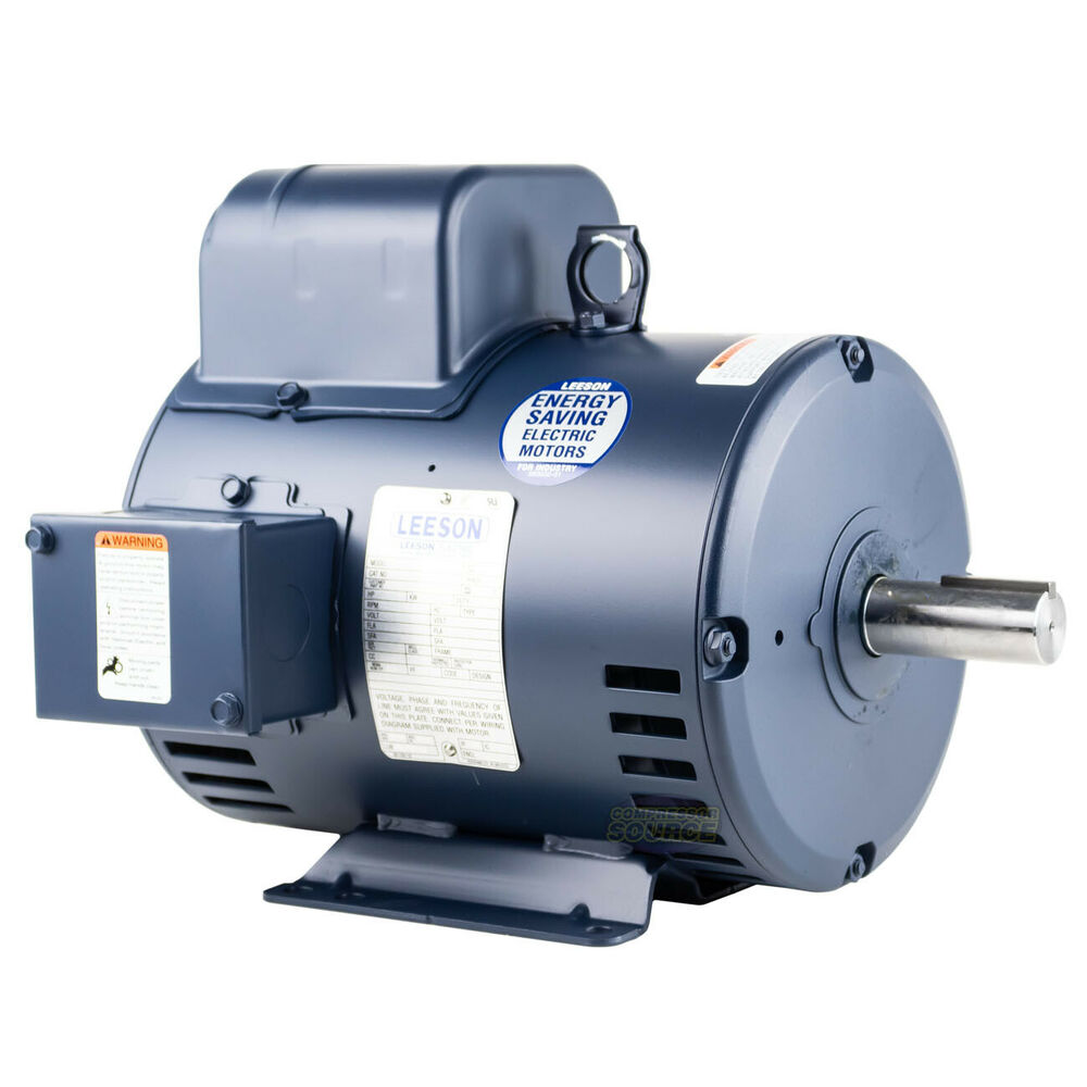 5 HP Single Phase Leeson Electric Compressor Motor 184T Frame