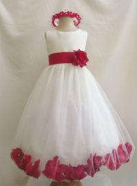 Flower Girl Dresses With Red Rose Petals - Bridesmaid Dresses