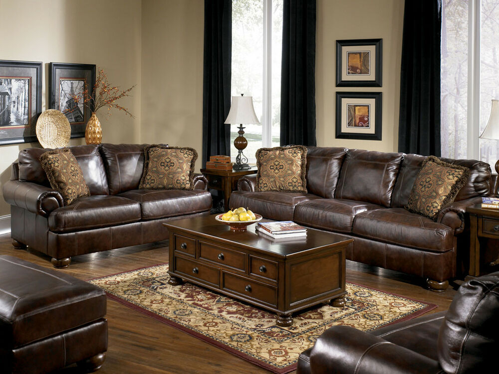 Living Room Sofas Sets Prestige - Traditional Genuine Brown Leather Large Sofa