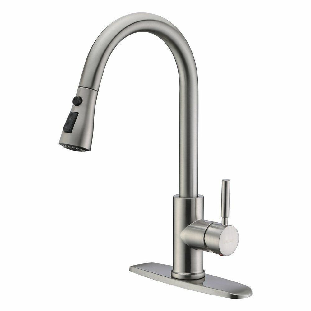 Faucet New Brushed Nickel Pull Out Sprayer Kitchen Faucet