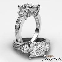 Channel Set Princess Cut 3 Stone Diamond Engagement Ring