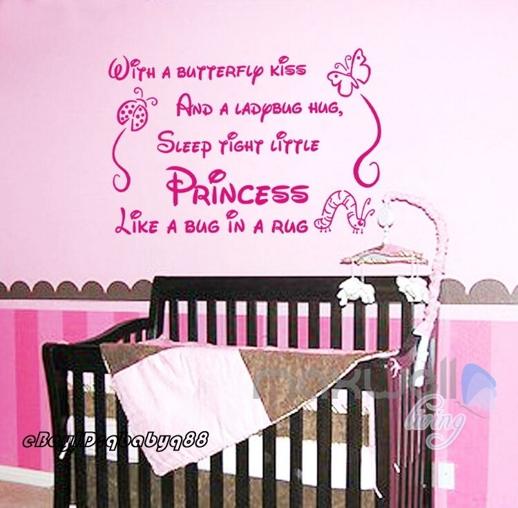 Baby Girl Nursery Removable Wallpaper Sleep Tight Princess Wall Quote Decals Stickershome Decor