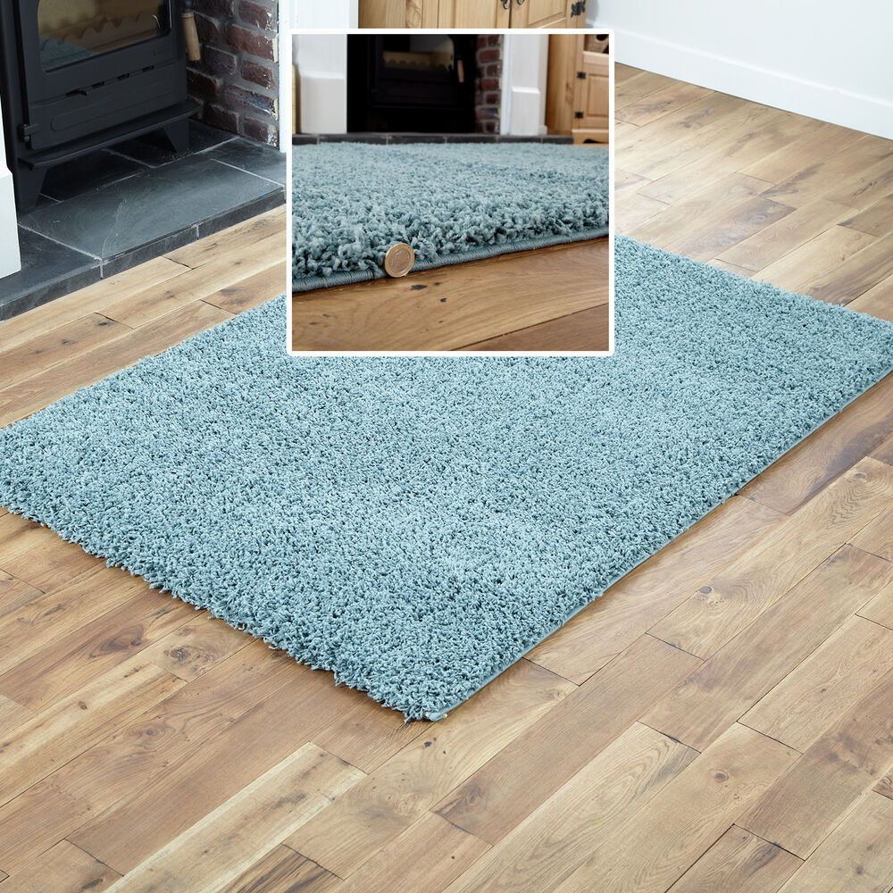 Small To Extra Large Modern Rug Duck Egg Blue Thick 5cm