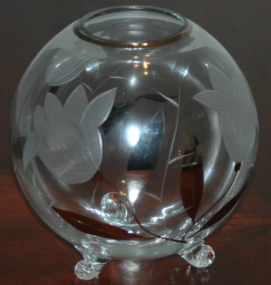 Vintage Clear Etched Glass Round Vase With Silver Floral - Vase Glas Rund