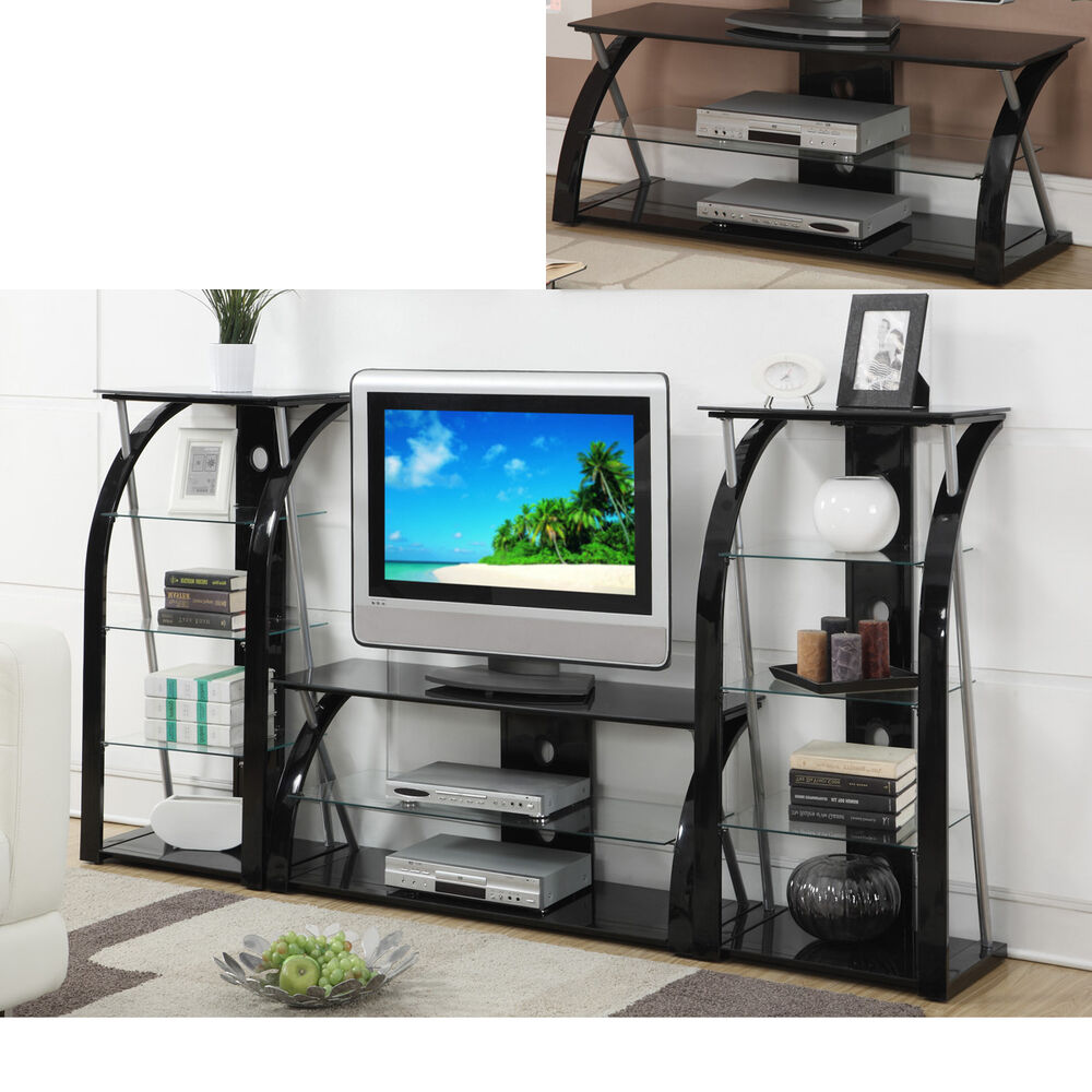 Black Glass Metal Dynamic Tv Stand Entertainment Center