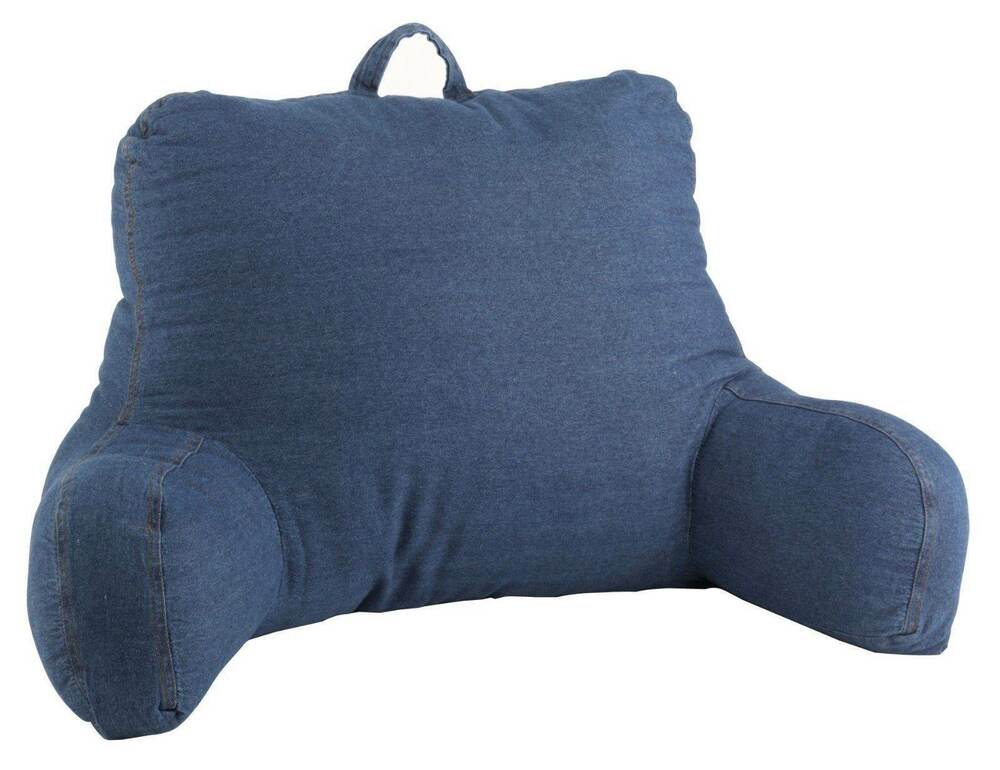 Washed Denim Bed Back Support Bedrest Reading Pillow With