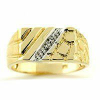 Mens Diamond Ring Sterling Silver or Gold Plated Silver   eBay