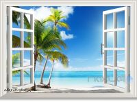 3 Palm Tree White Beach 3D Window View Removable Wall