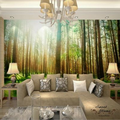 Sunshine Woods Forest Landscap Full Wall Mural Wallpaper Print Decal Indoor Deco | eBay