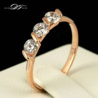 Classic Three Stone Cubic Zirconia Finger Ring Fashion ...