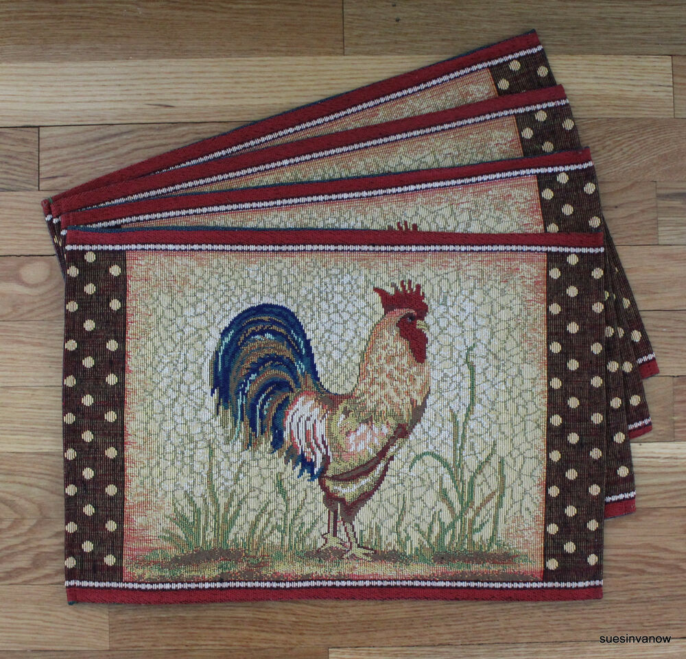 Rooster Kitchen Theme Rooster Placemats Kitchen Dining Table Set of 4 Tapestry Country Farm Theme | eBay