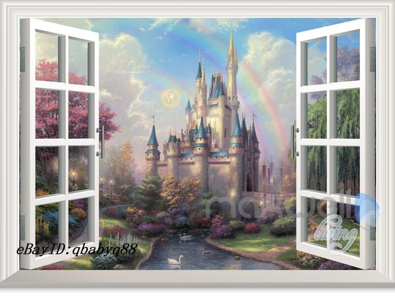 Baby Girl Nursery Removable Wallpaper Disney Tinkerbell Fairy Castle 3d Window Wall Decals Girl