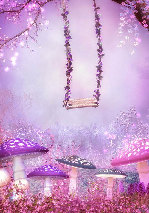 3d Flower Mural Wallpaper Purple Pink Fantasy Garden Swing Full Wall Mural Photo