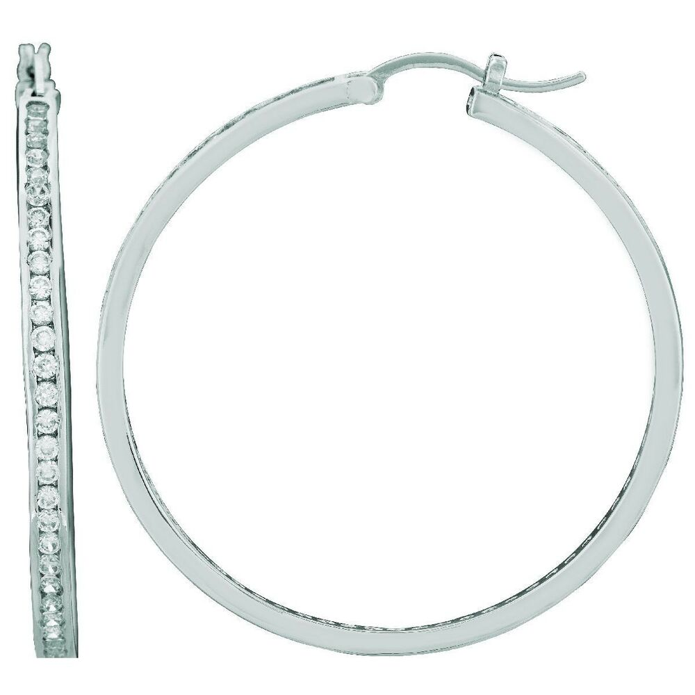 Extra large sterling silver round hoop earrings with