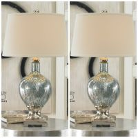 TWO BLUE MERCURY GLASS TABLE DESK LAMPS CHROME PLATED