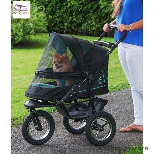 Stroller Cover Twin Pet Stroller Carrier Dog Cat Large Storage Basket 3 Wheel