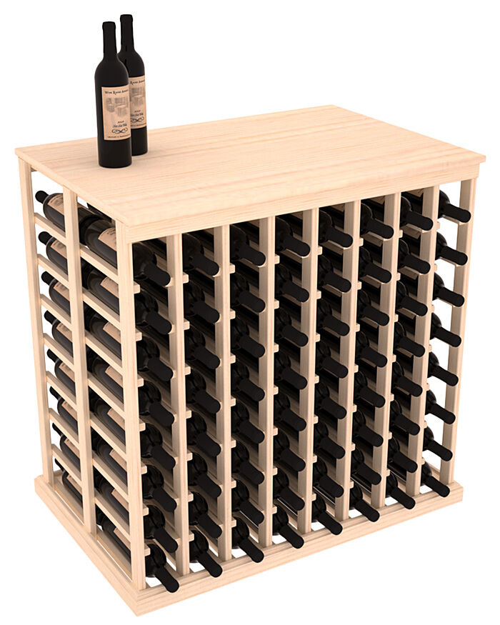 Wooden Double Deep Tasting Table Wine Rack With Solid Top