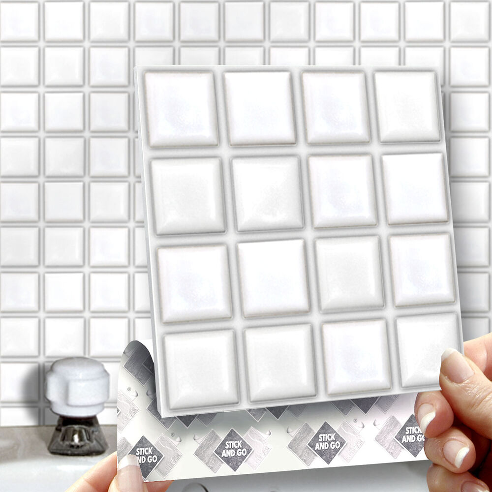 How To Stick Bathroom Wall Panels 8 Stick & Go White Stick On Wall Tiles For Kitchens